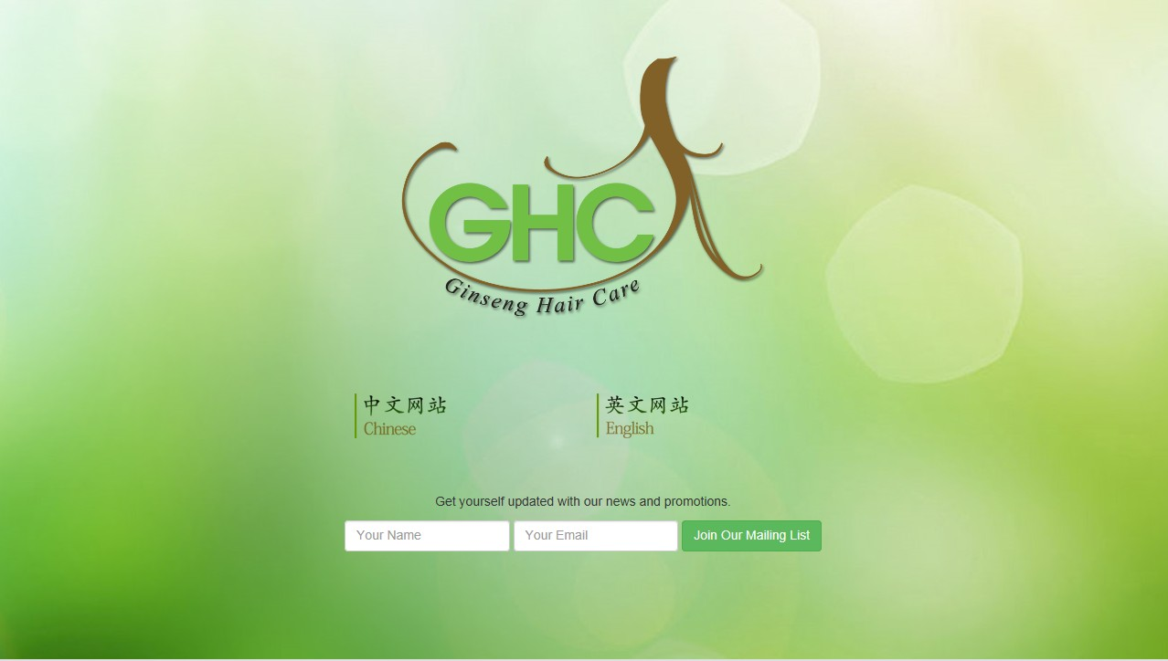 Ginseng Hair Care Website Landing Page Mock Up