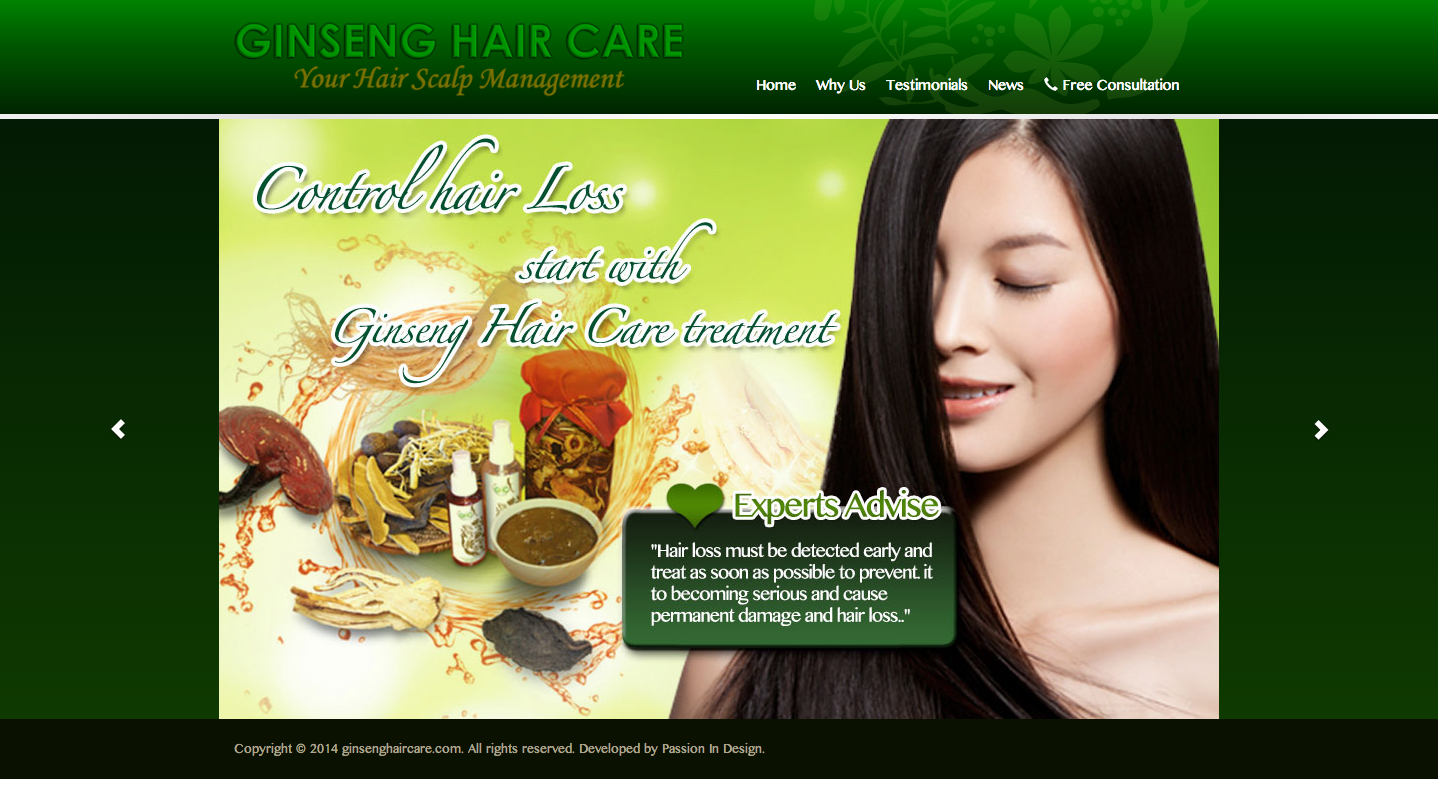 Ginseng Hair Care Home Page English Version